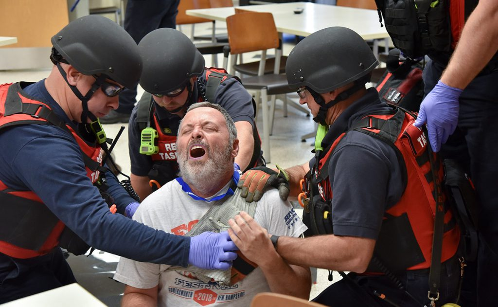 EMS providers aid an actor during a training exercise in New Hampshire.